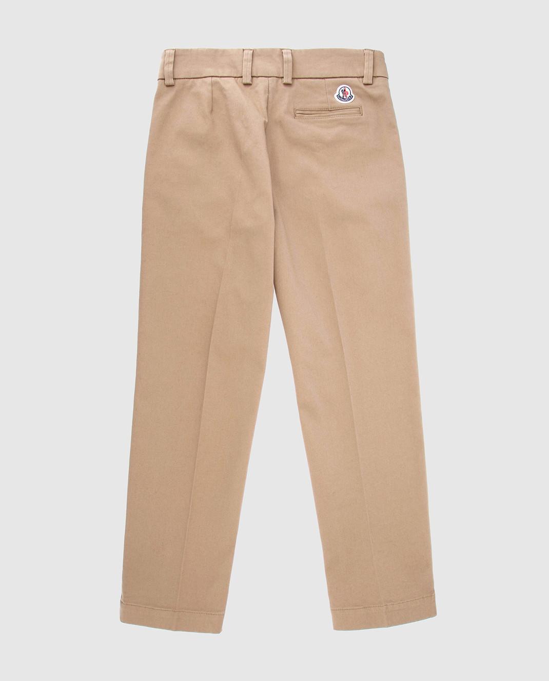 Moncler ENFANT Детские бежевые брюки 110188A10A изображение 2