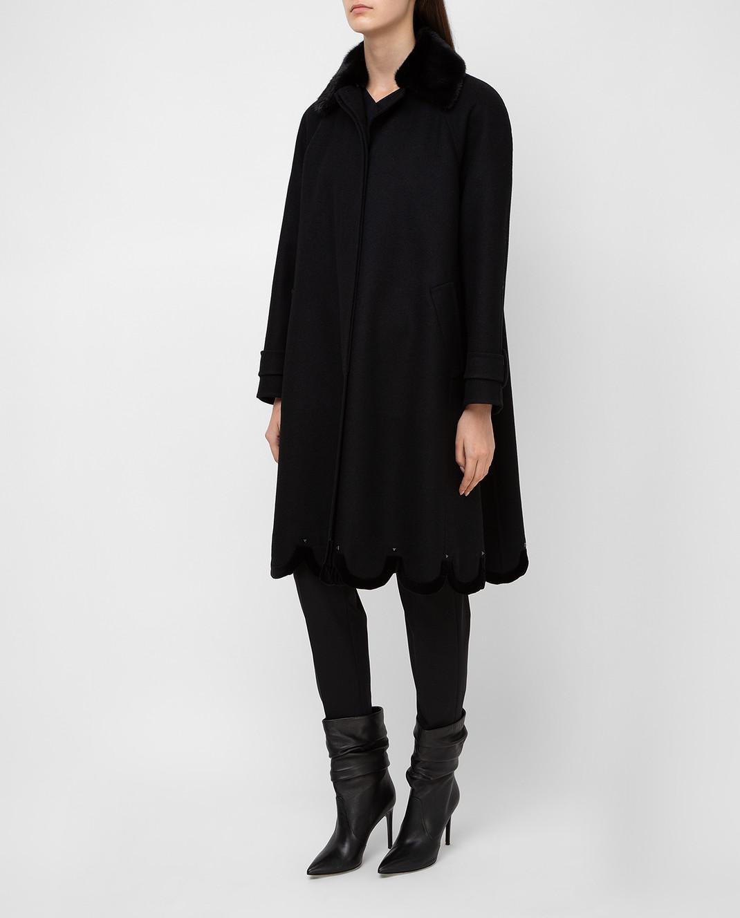Valentino Черное пальто из шерсти с мехом норки QB3CA2Q51CJ изображение 3