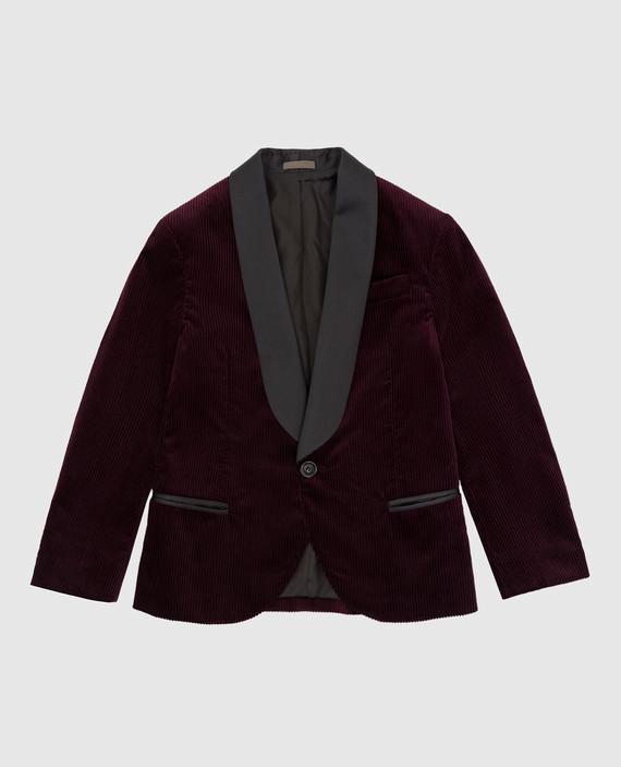 Детский бордовый вельветовый пиджак