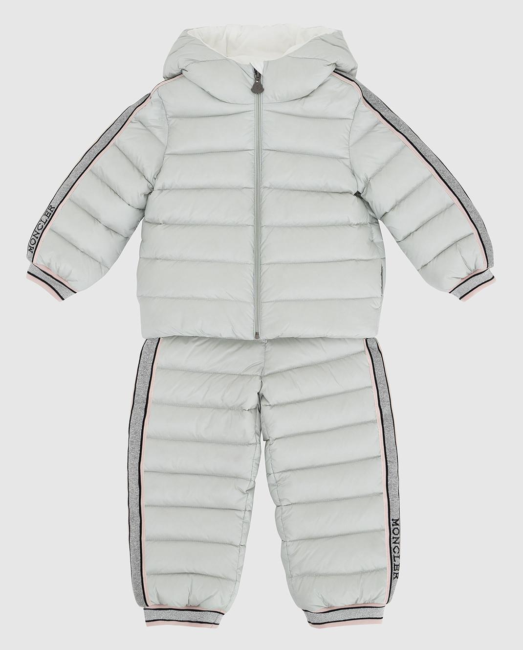 Moncler ENFANT Детский светло-серый пуховой костюм изображение 1