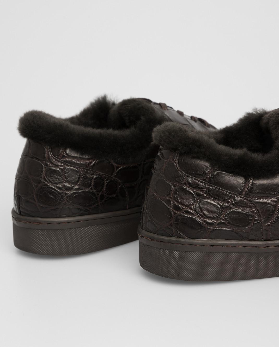 Del Dami Темно-коричневые ботинки из кожи крокодила на меху 3604 изображение 5