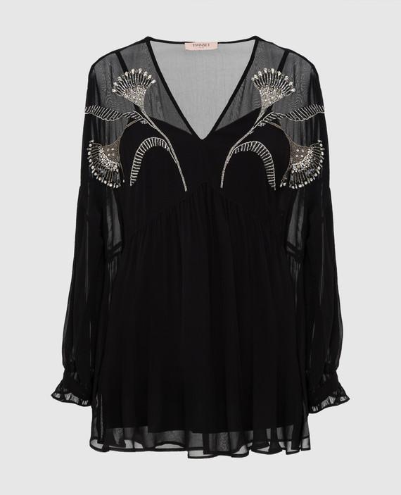 Черная блуза с кристаллами