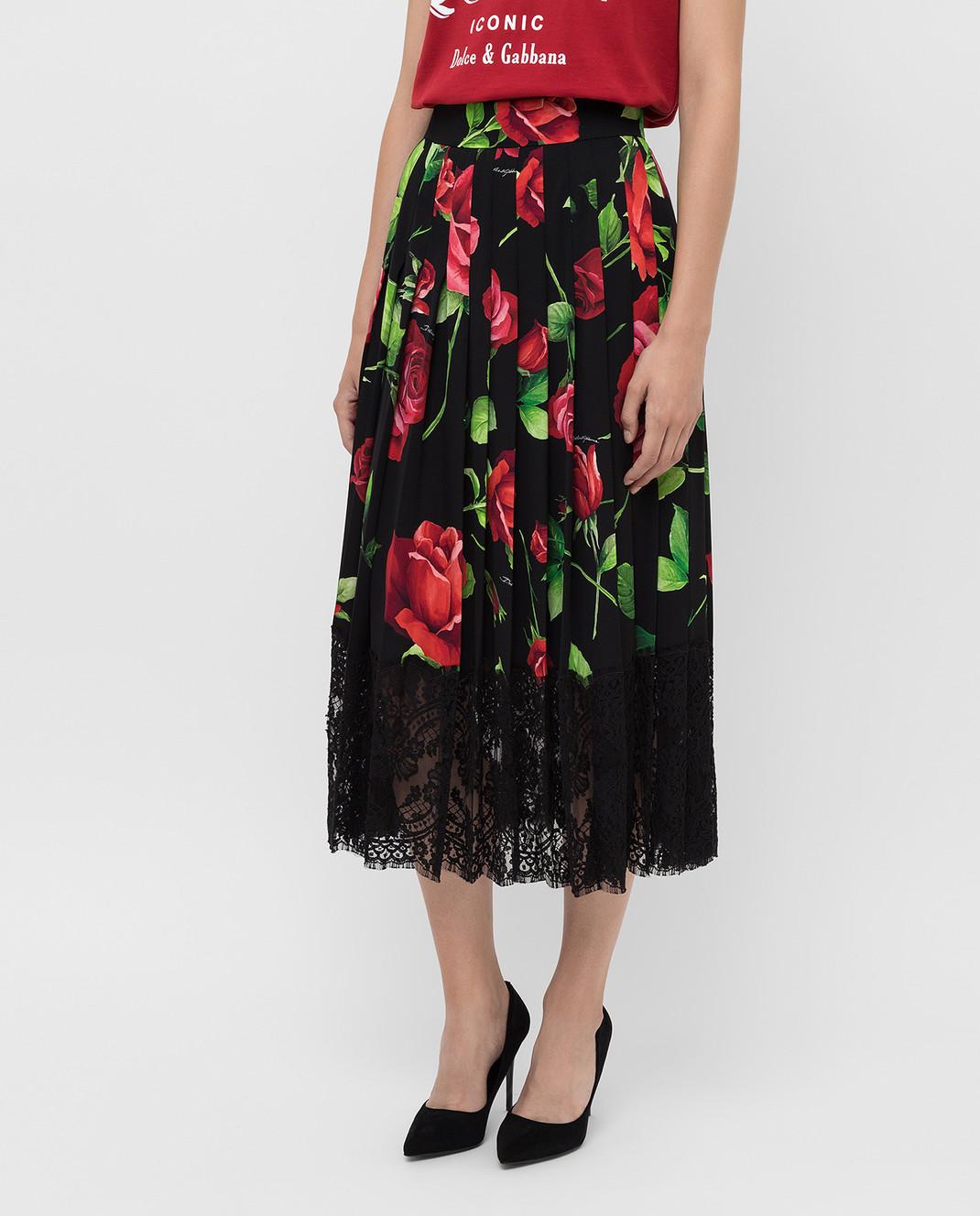 Dolce&Gabbana Черная юбка из шелка F4BFTTFSAY1 изображение 3