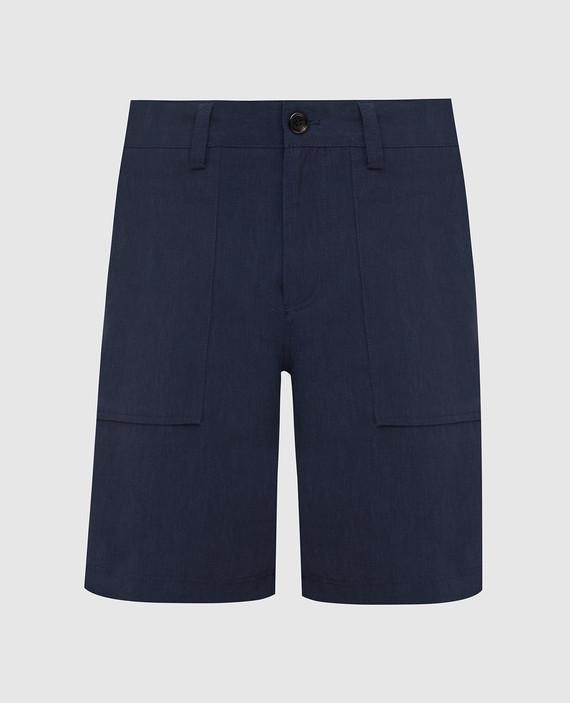Темно-синие шорты из льна