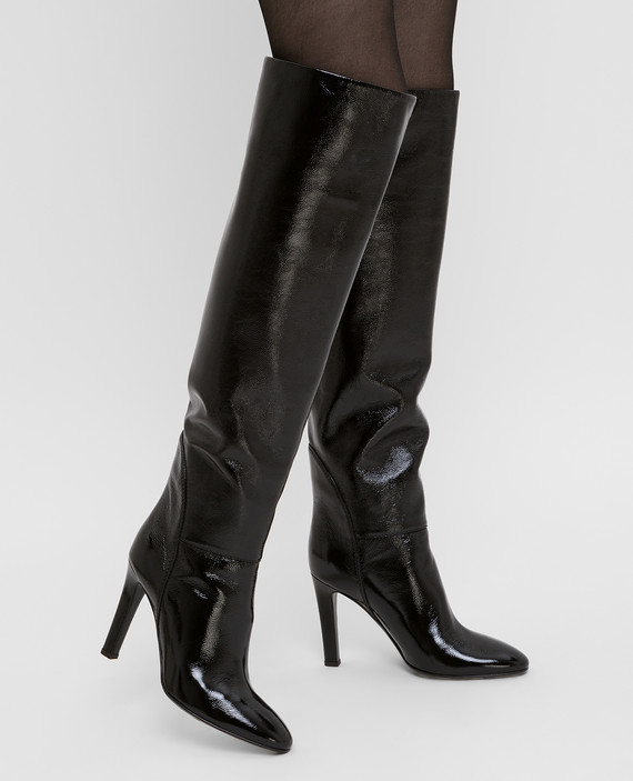 "Черные кожаные ботфорты ""Hattie"" hover"