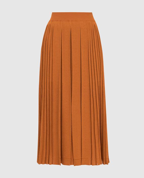 Оранжевая юбка из шелка