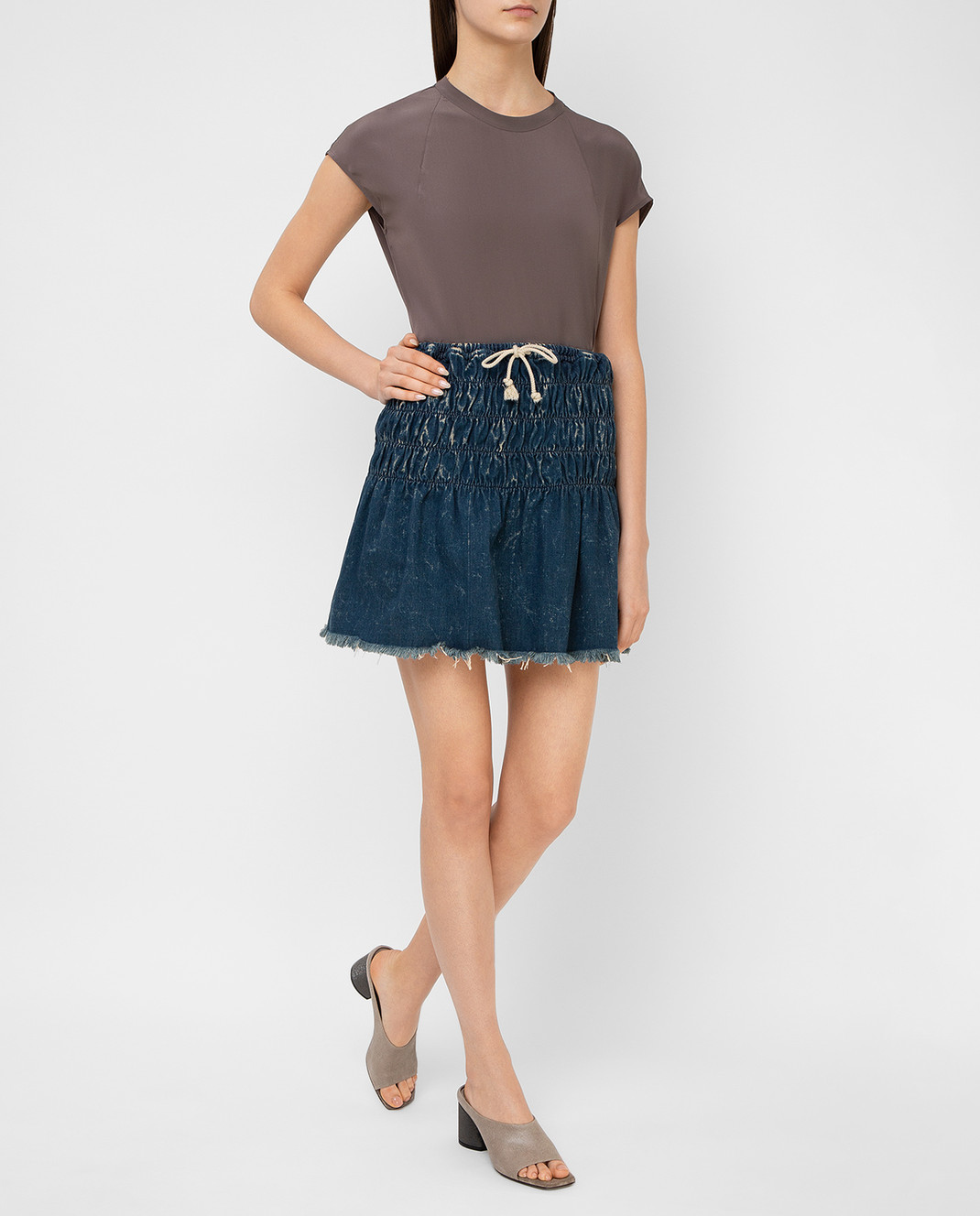 Chloe Темно-синяя джинсовая юбка 16EDJ02 изображение 2