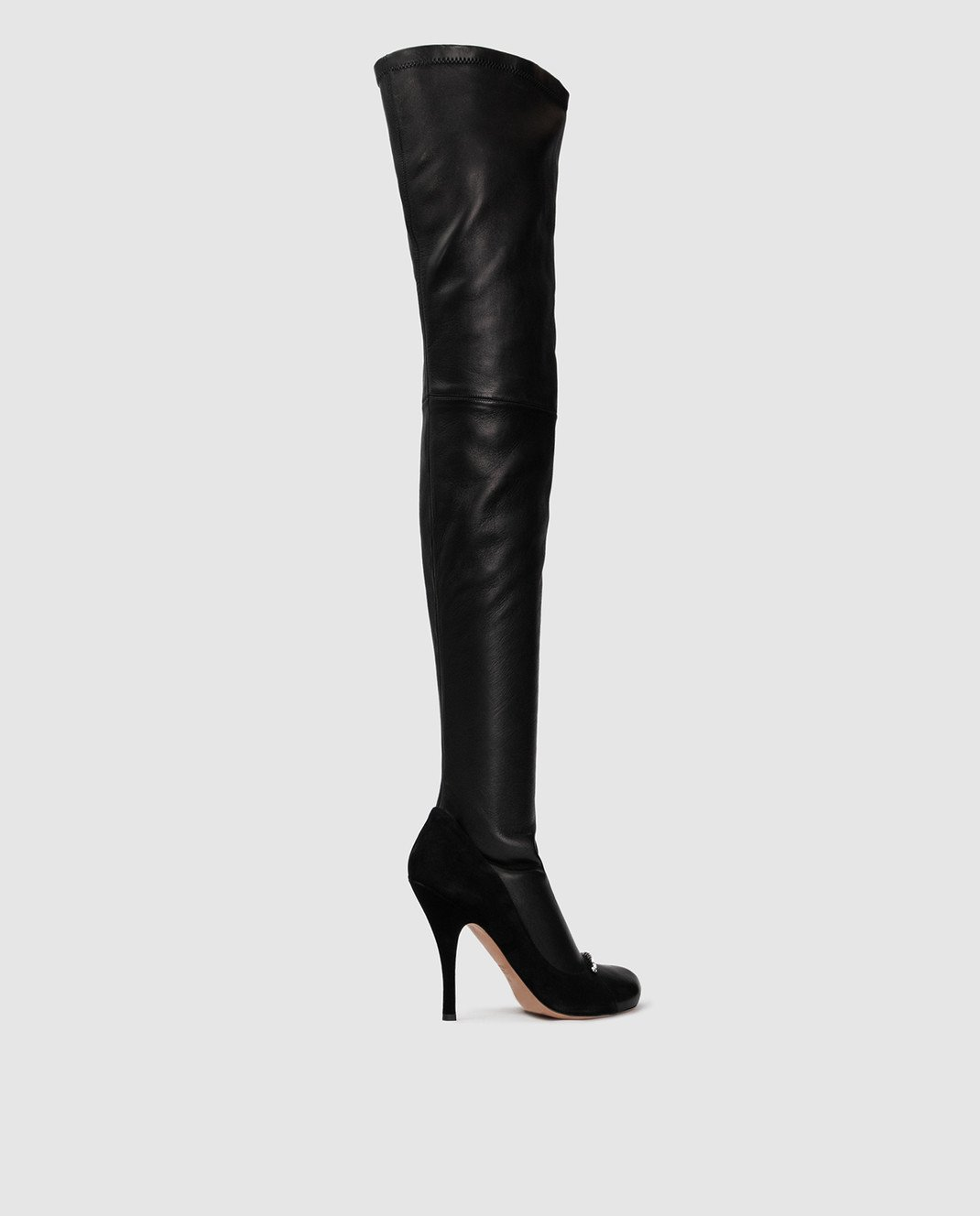 Valentino Черные кожаные ботфорты QW0S0I91PQM изображение 4