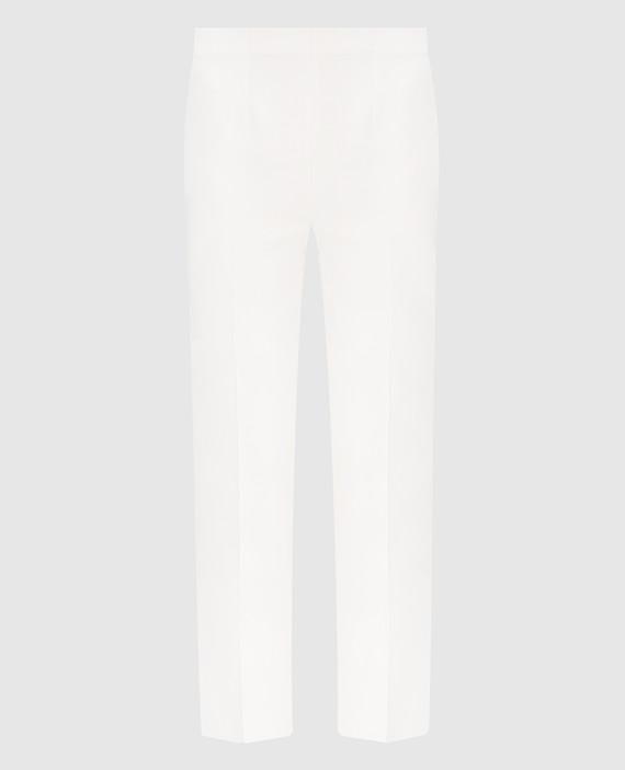 Белые брюки из шелка и шерсти
