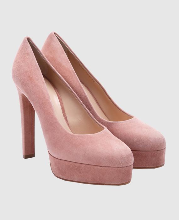 Пудровые замшевые туфли hover