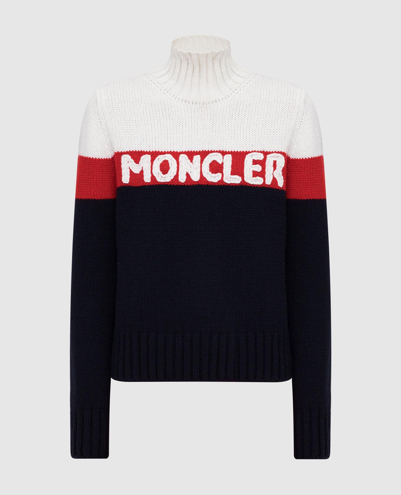 Тёмно-синий свитер из шерсти и кашемира