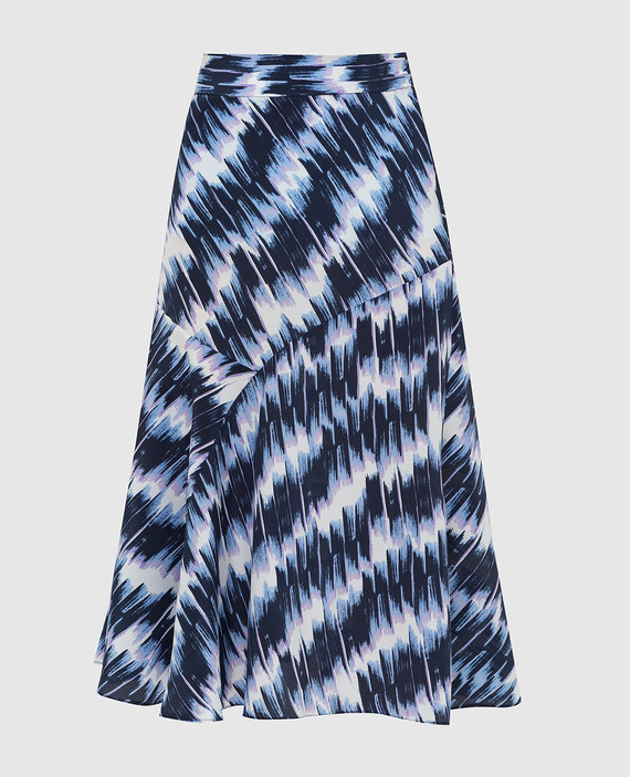 Темно-синяя юбка из шелка