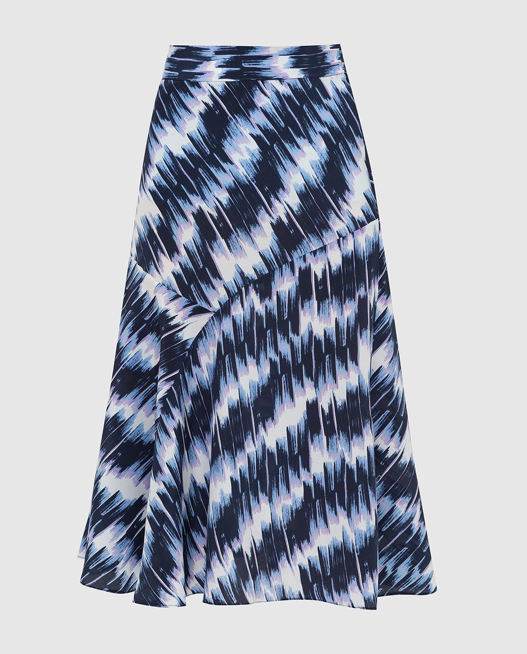 Max Mara Sportmax Темно-синяя юбка из шелка FALENA