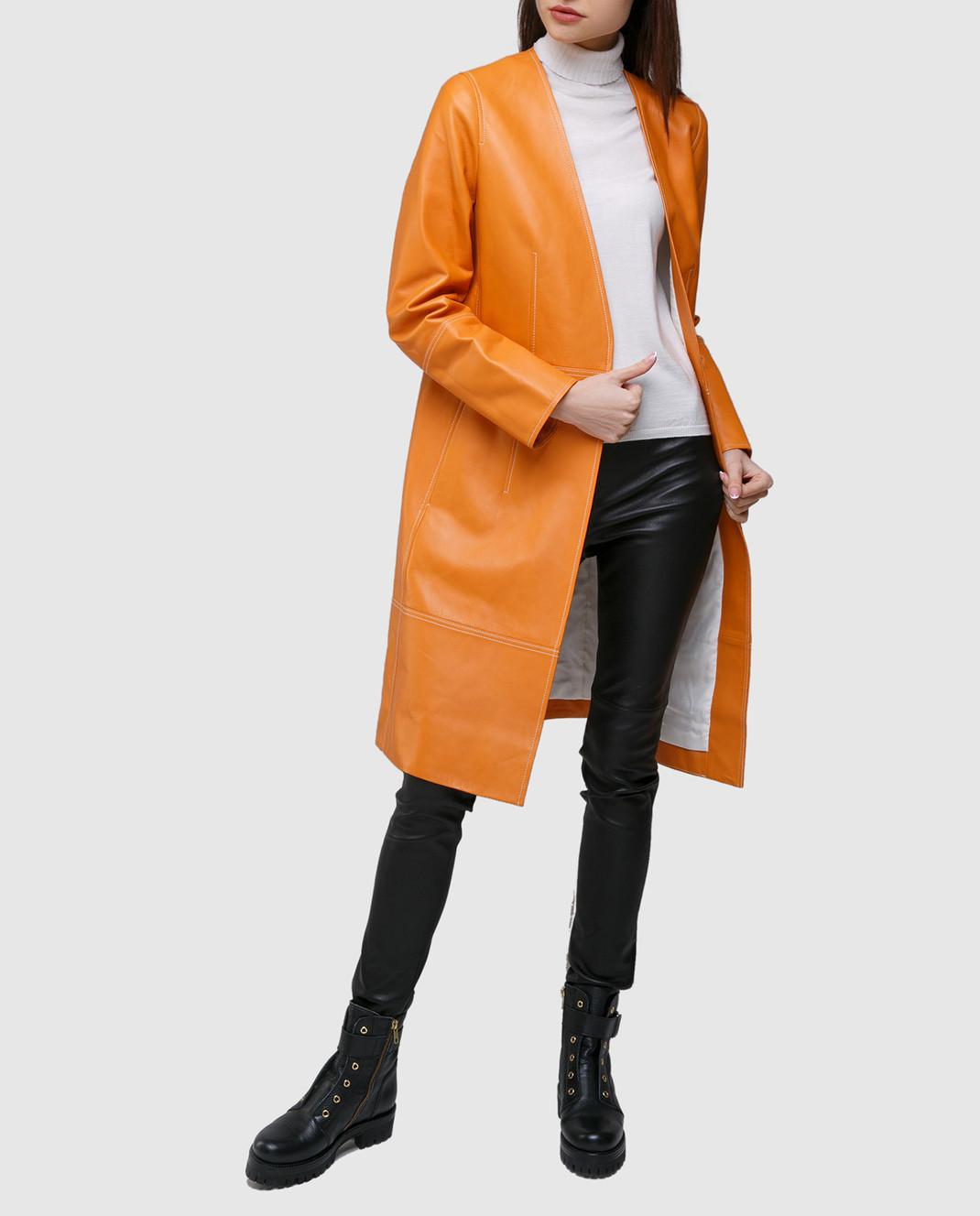 Yves Salomon Оранжевый плащ из кожи ягненка 7EYM20401APXX изображение 2