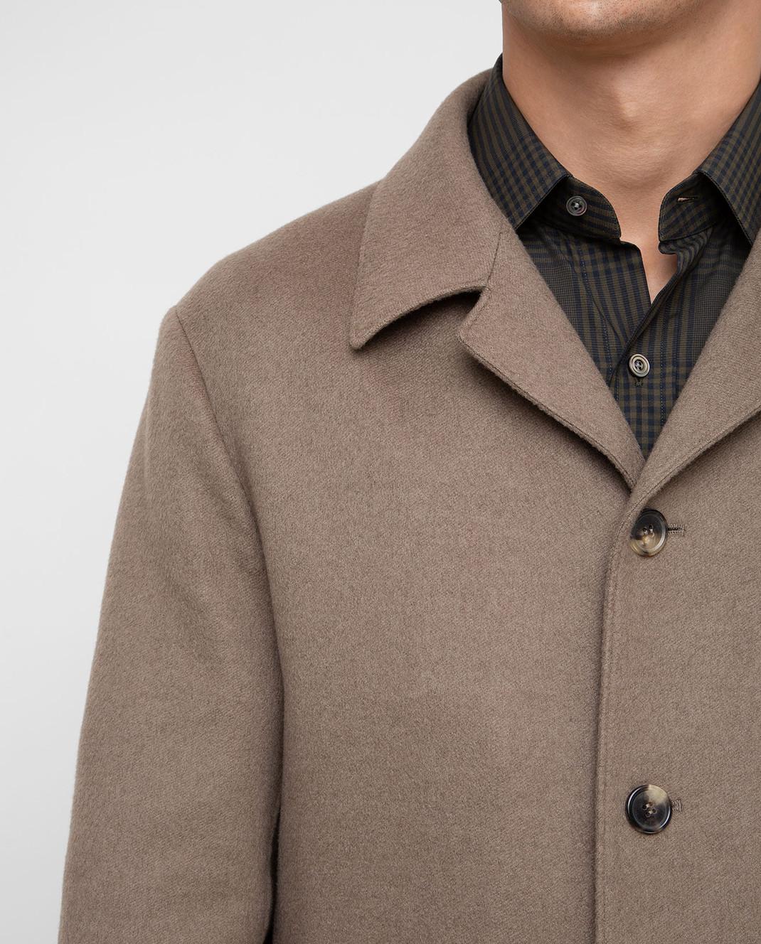 Loro Piana Темно-бежевое пальто из кашемира F1FAI2410 изображение 5