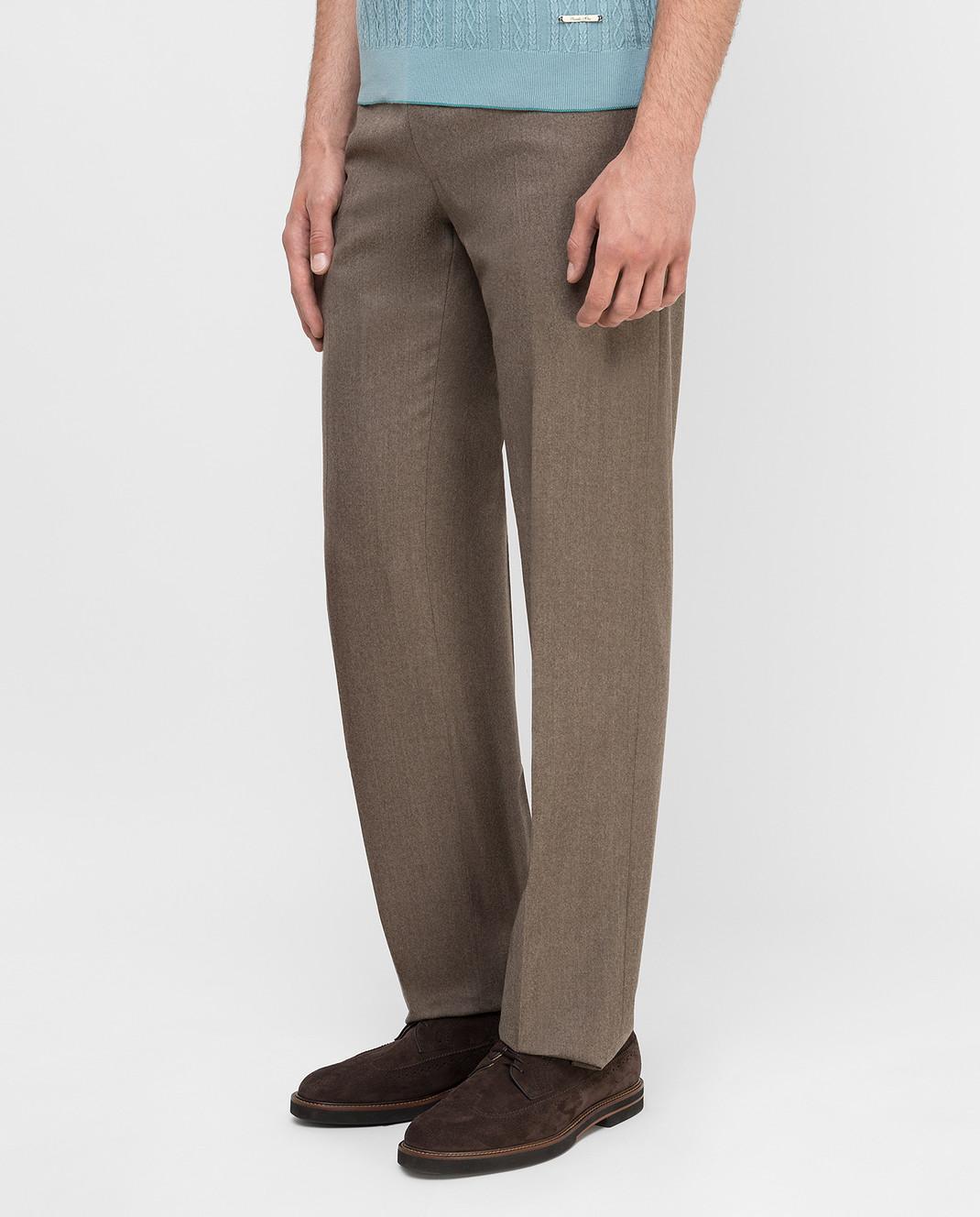 Castello d'Oro Бежевые брюки из шерсти изображение 3