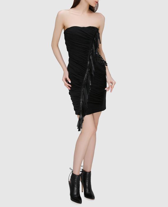 Черное платье из драпированного шелка с деталями из кожи hover