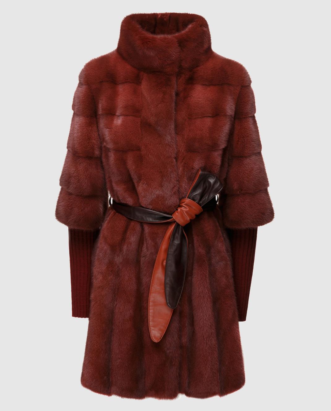 Florence Mode Бордовая шуба из меха норки с поясом и митенками 18N145SILVERBLU