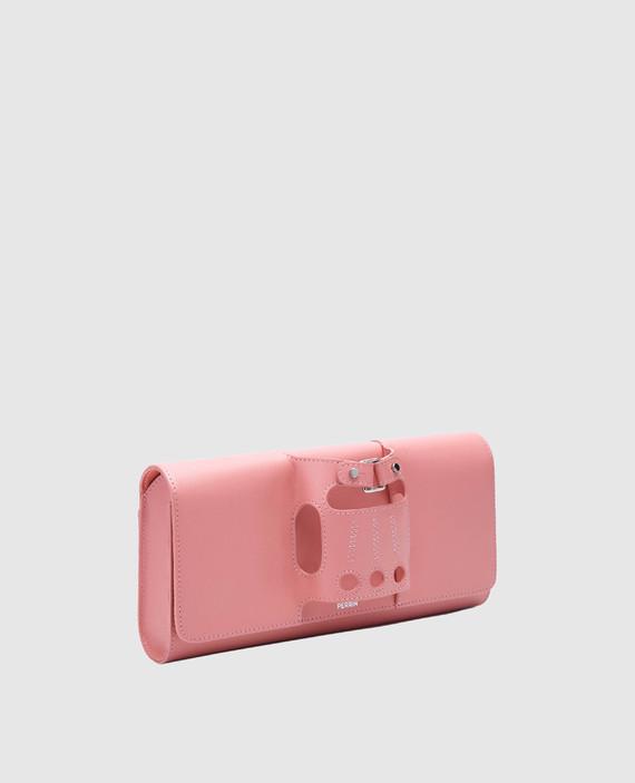 Розовый кожаный клатч La boucle hover