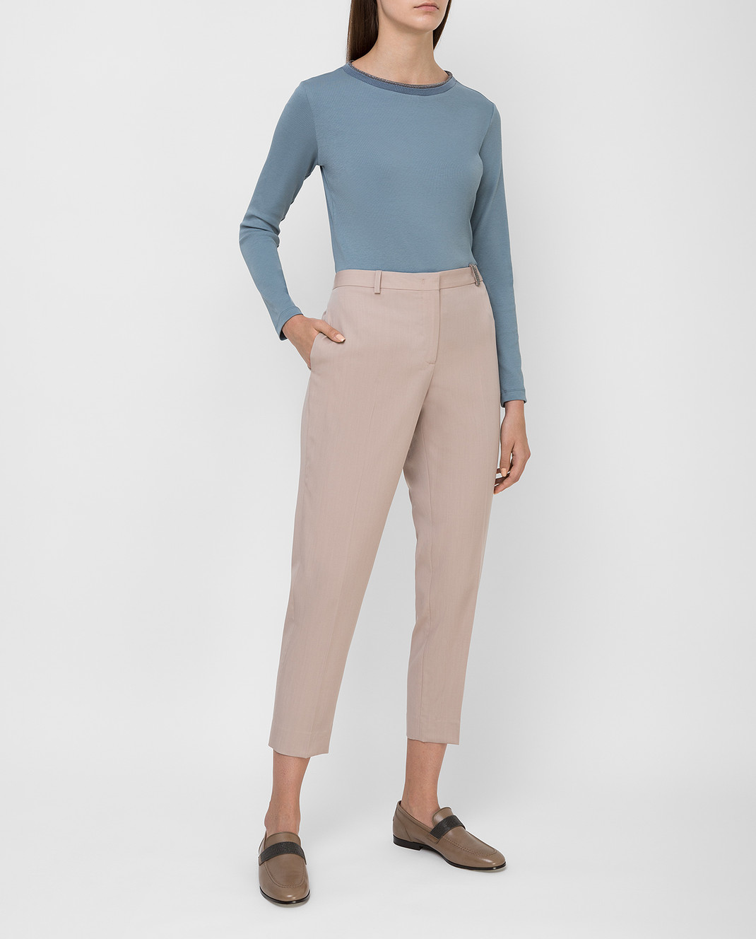 Fabiana Filippi Бежевые брюки из шерсти изображение 2
