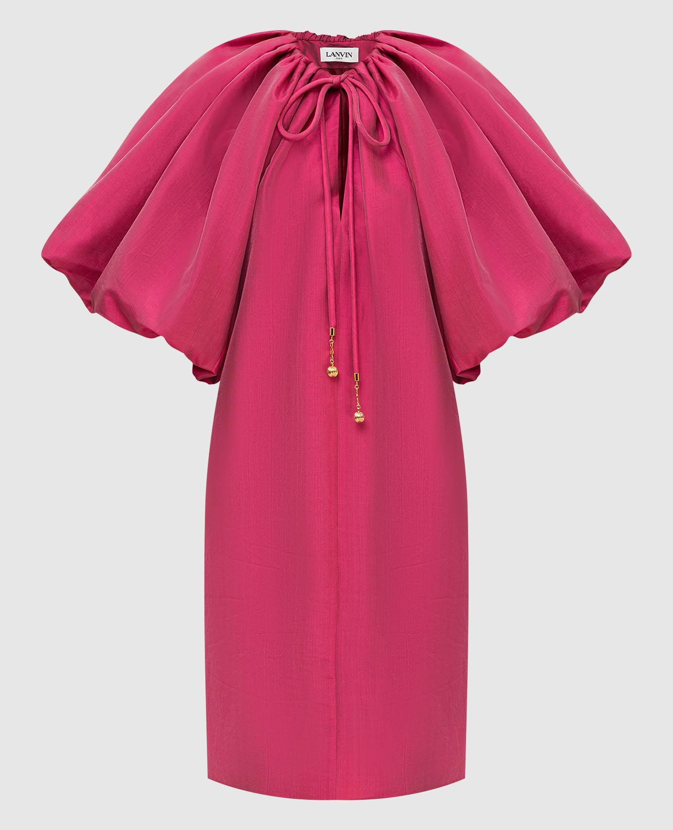 Малиновое платье с воздушными рукавами Lanvin