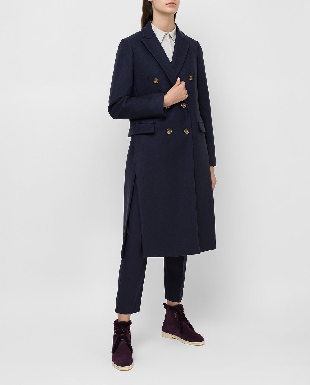 Brunello Cucinelli Темно-синее пальто из кашемира MA5324963 изображение 2