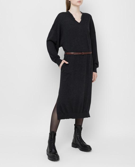 Темно-серое платье из шерсти и кашемира hover