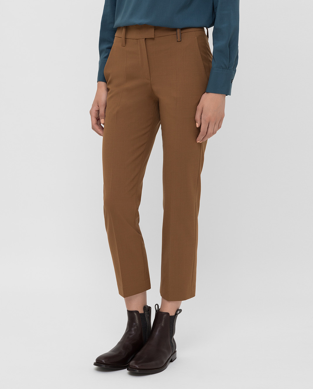 Brunello Cucinelli Коричневые брюки изображение 3
