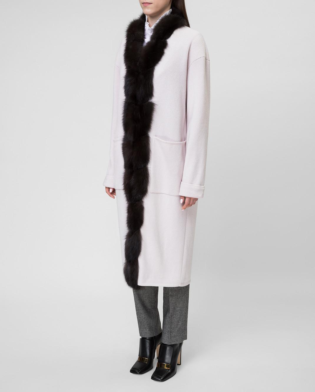 Real Furs House Светло-бежевое пальто CSR01 изображение 3
