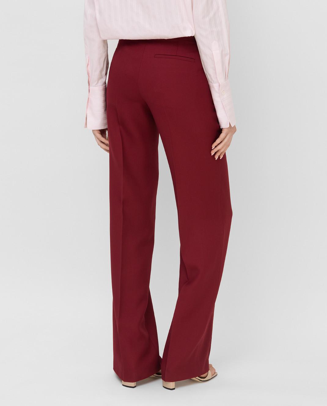 Victoria Beckham Бордовые брюки из шерсти TRWID2500D изображение 4