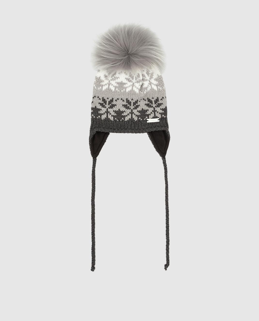Il Trenino Детская темно-серая шапка из шерсти изображение 1