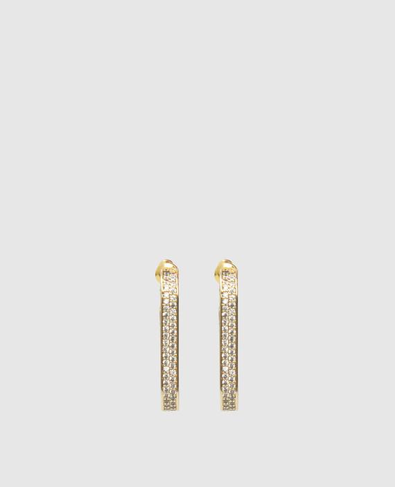 Золотистые серьги с кристаллами