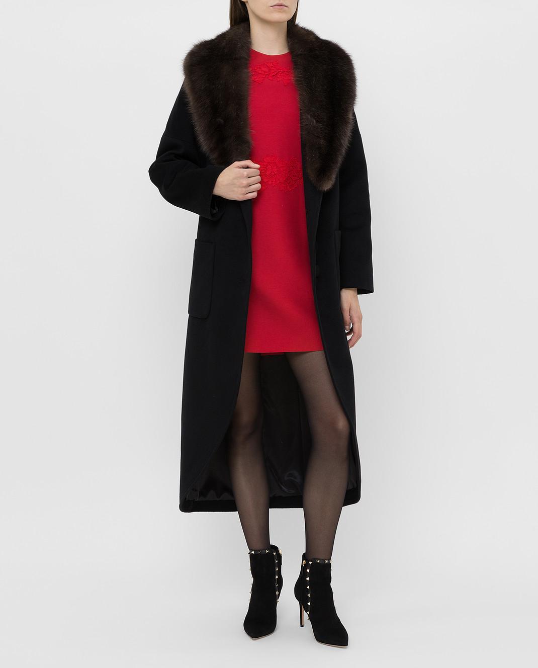 Real Furs House Черное пальто из кашемира с мехом соболя GT02 изображение 2