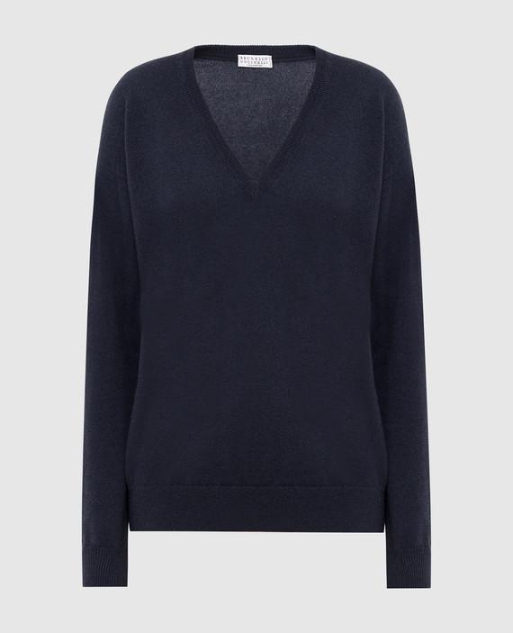Темно-синий пуловер из кашемира