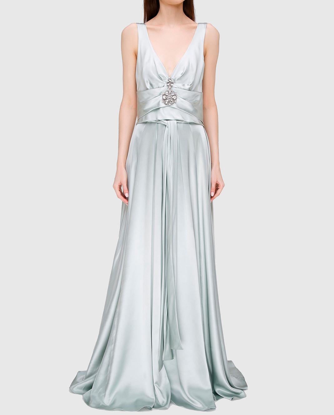 Collette Dinnigan Светло-серое платье из шелка 11115082 изображение 3