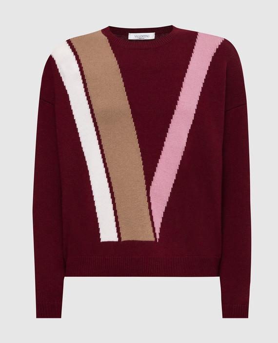 Бордовый свитер из шерсти и кашемира