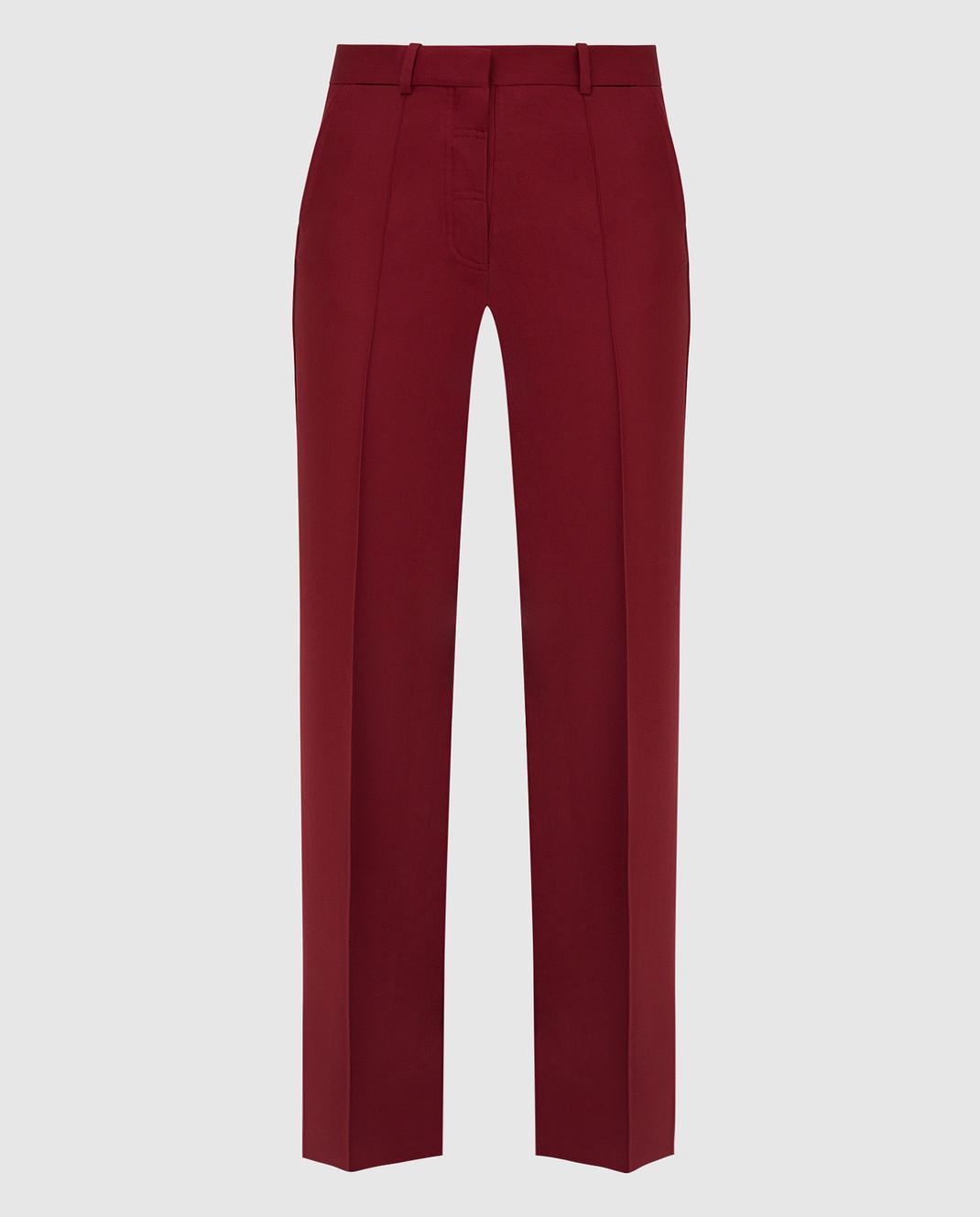 Victoria Beckham Бордовые брюки из шерсти TRWID2500D