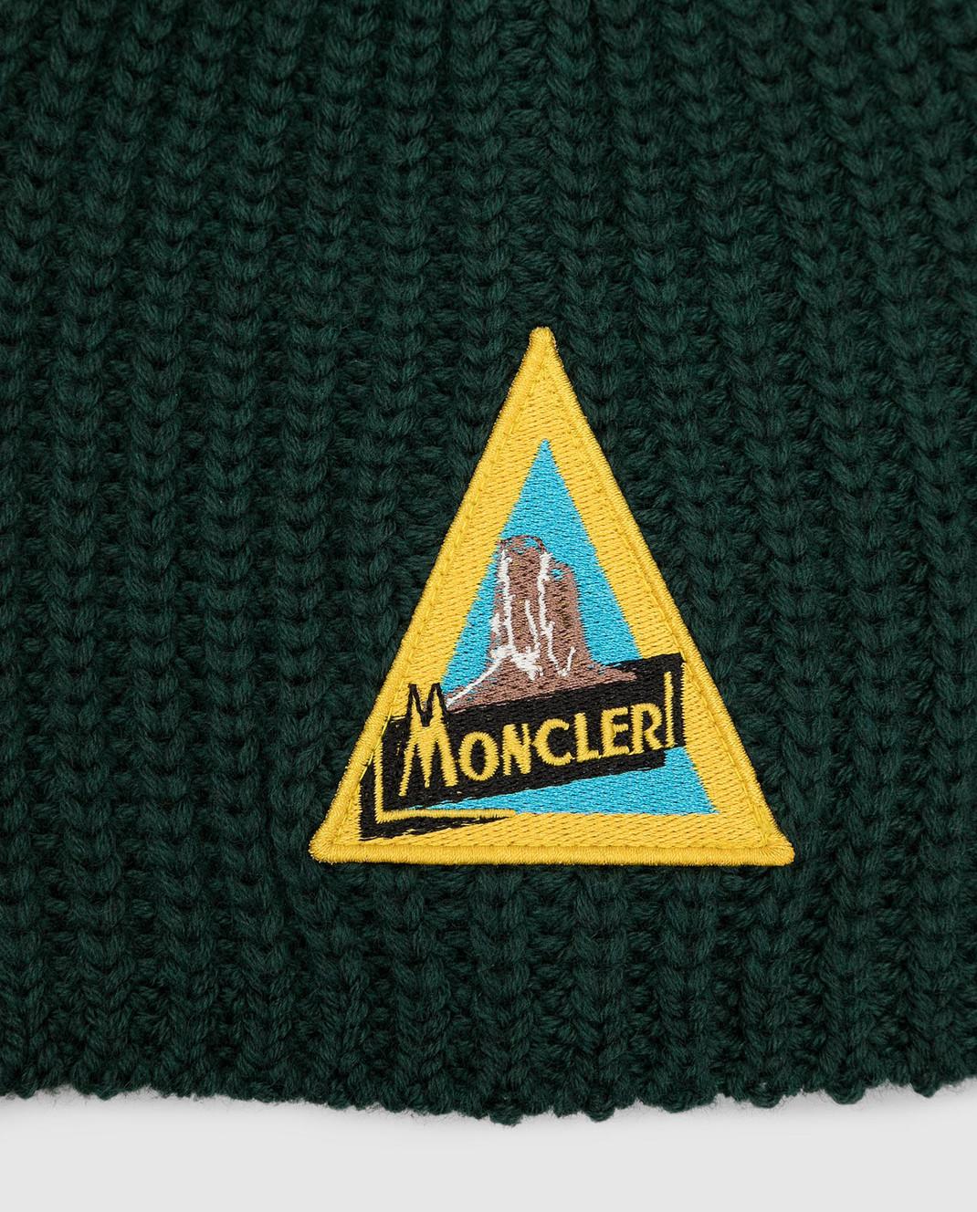 Moncler ENFANT Детская зеленая шапка из шерсти изображение 3