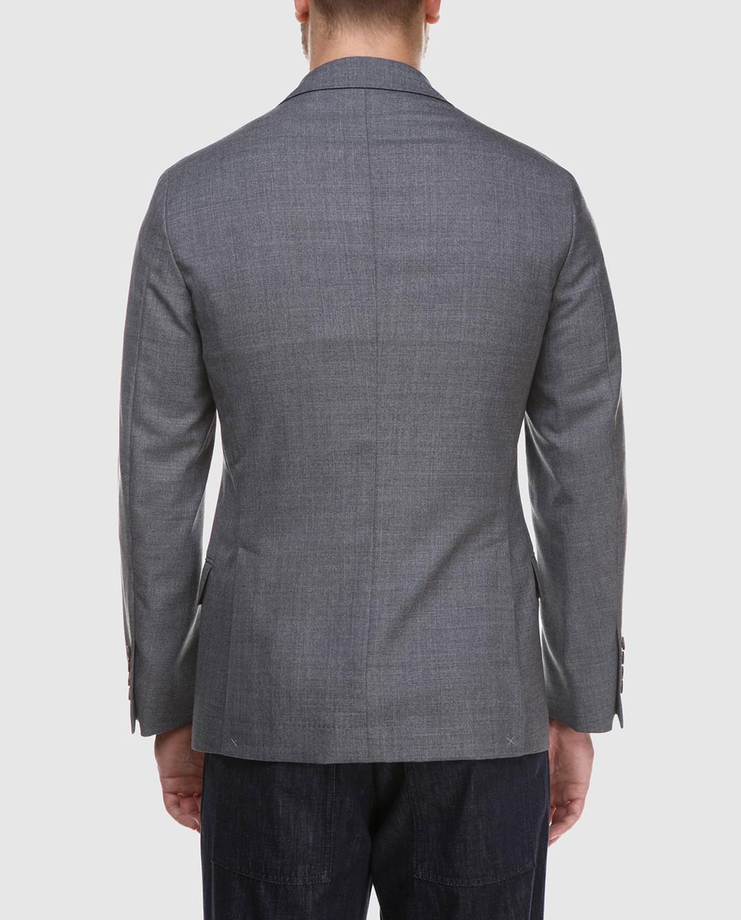 Brunello Cucinelli Серый пиджак из шерсти MF4237BTD изображение 4