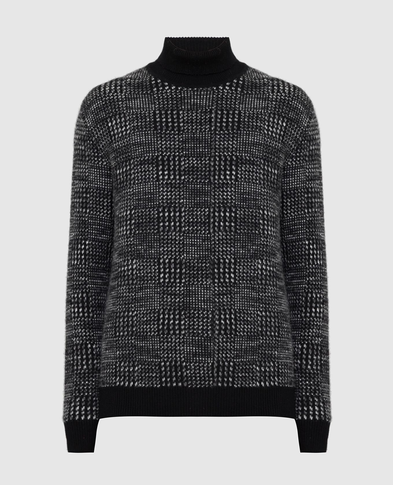 Черный свитер из кашемира и шелка