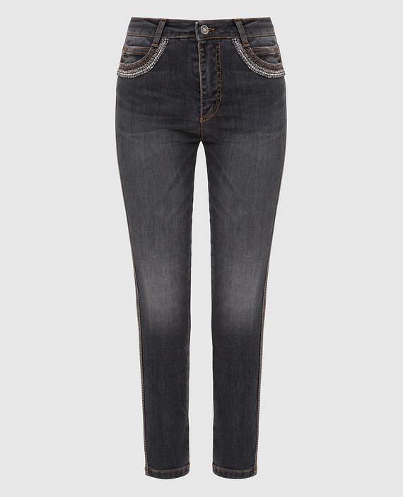 Серые джинсы с кристаллами