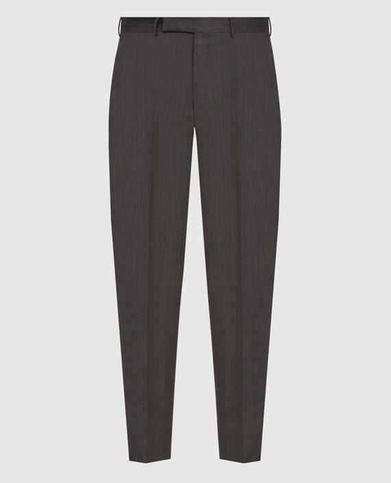 Темно-коричневые брюки из шерсти и шелка