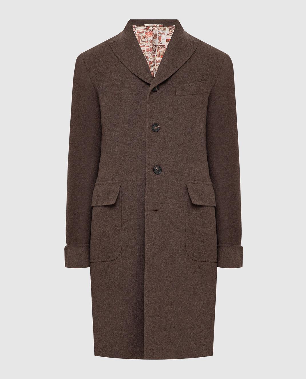 Stile Latino Коричневое пальто из шерсти и кашемира CUALFIO4592TMC20