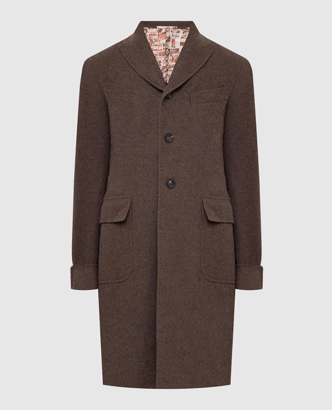 Коричневое пальто из шерсти и кашемира