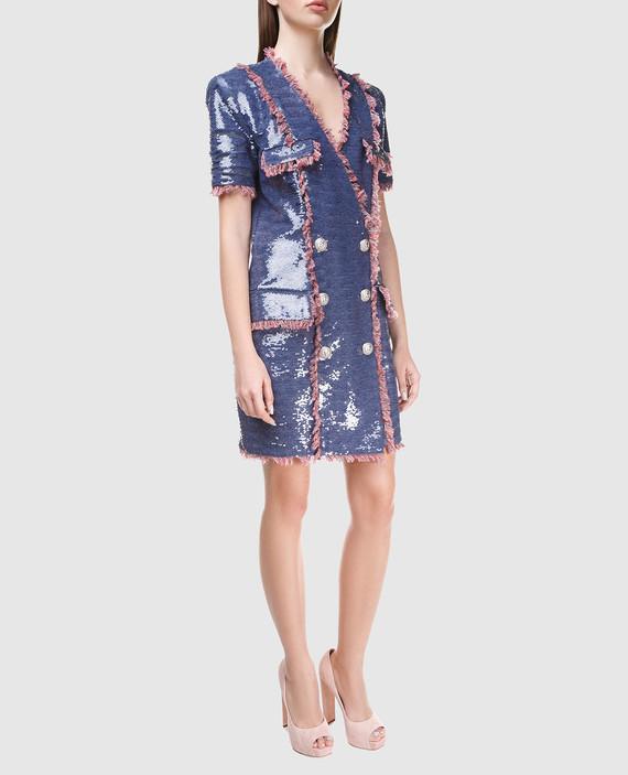 Синее платье с пайетками hover