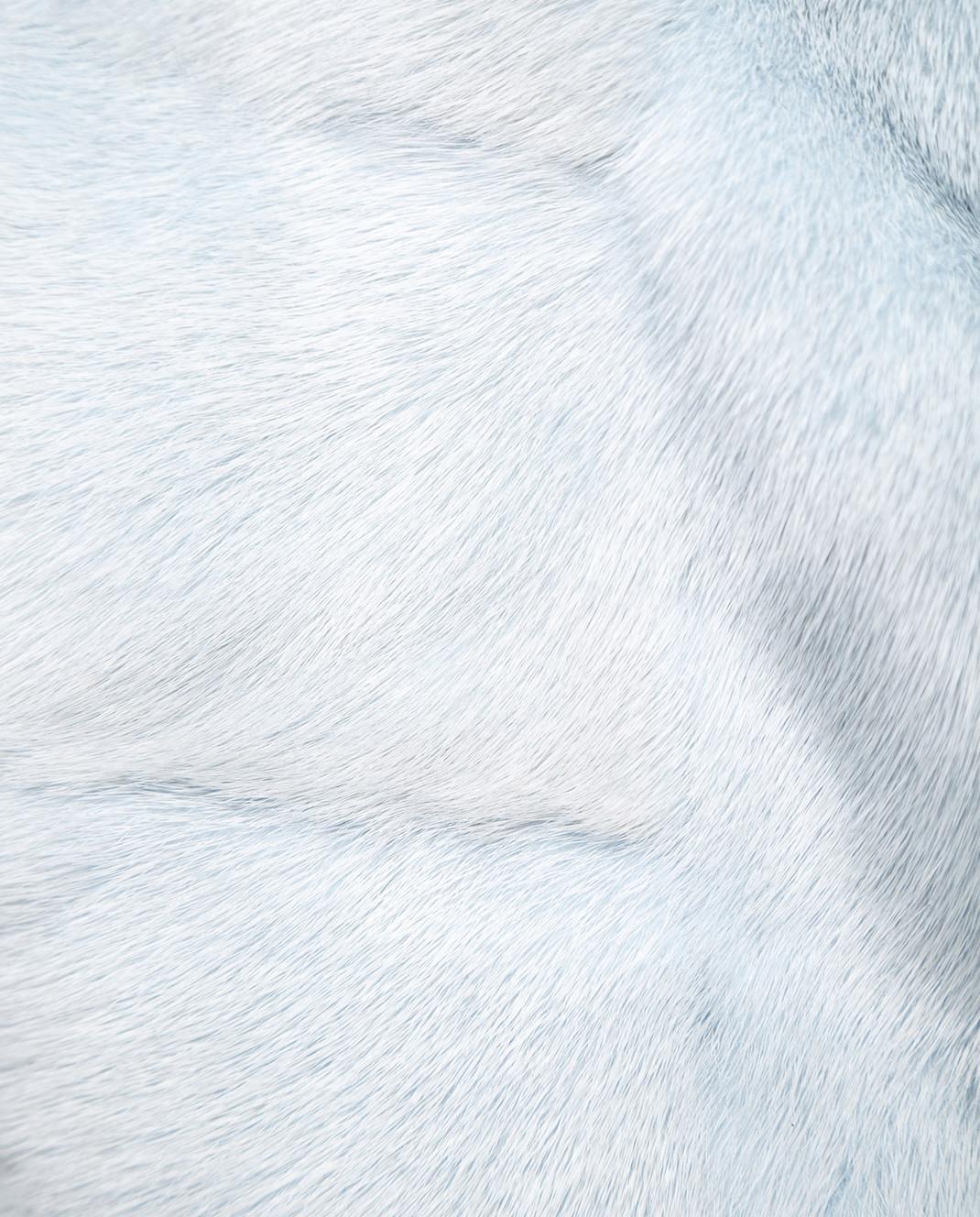 Florence Mode Голубая шуба из меха норки с поясом и митенками 18N145PERLA изображение 3