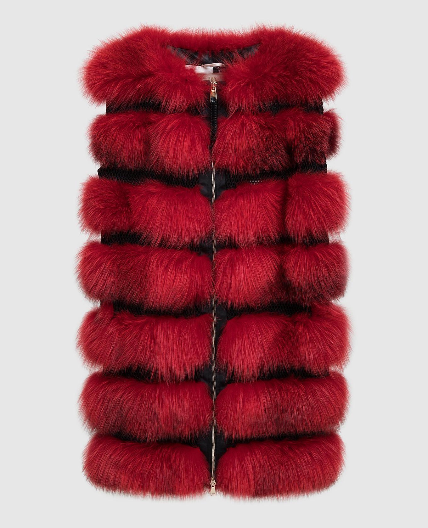 Красный жилет из меха лисы