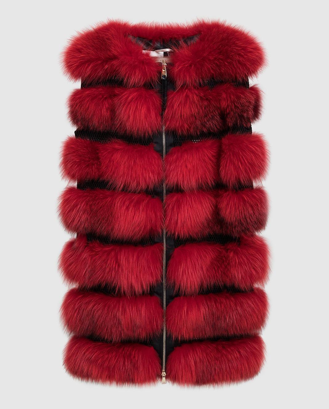 Florence Mode Красный жилет из меха лисы L1459BISV