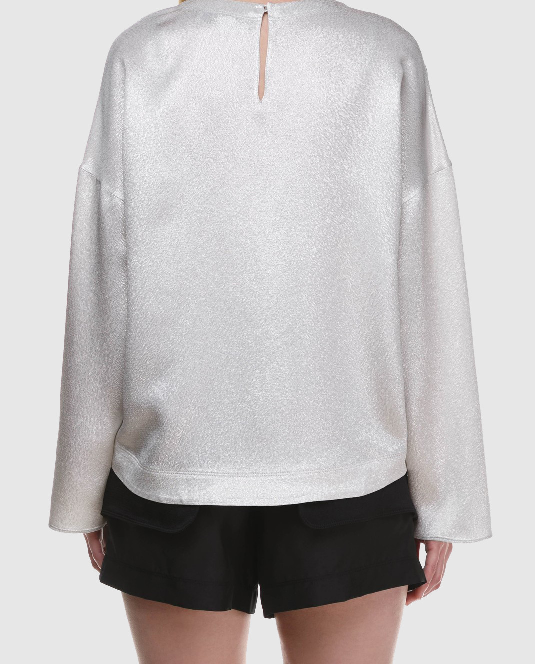 Valentino Серебристая блуза с длинным рукавом PB0AE2R53VF изображение 5