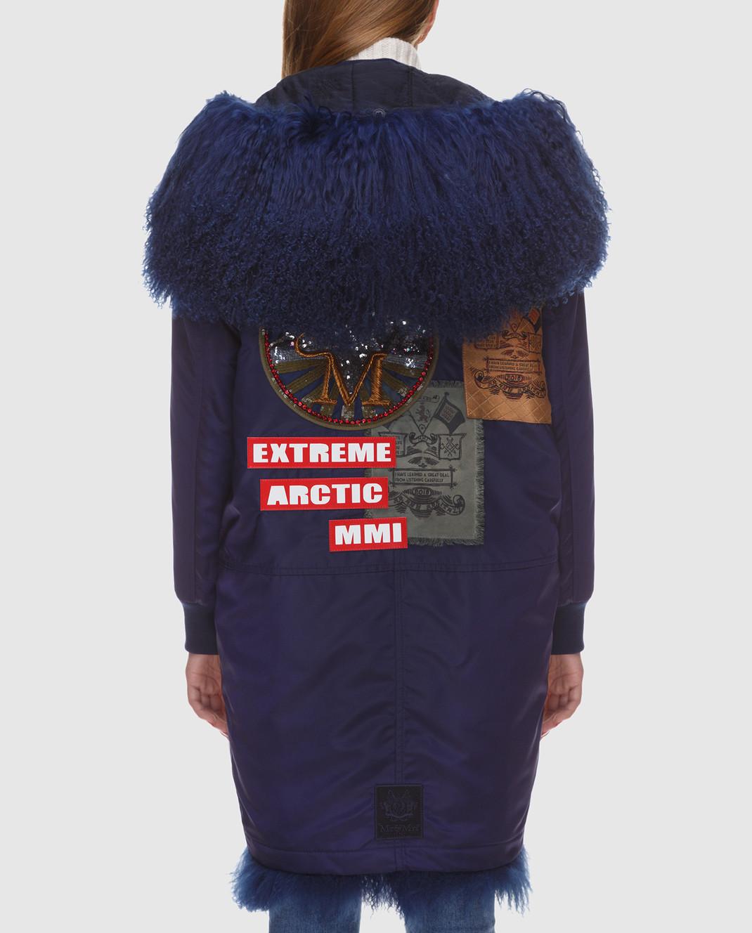 Mr&Mrs Italy Синяя парка с мехом тибетского ягненка OV072E изображение 4
